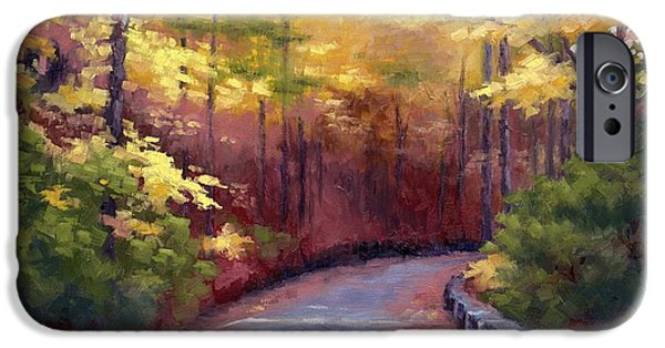 Nashville Tennessee Paintings iPhone Cases - The Old Roadway in Autumn II iPhone Case by Janet King