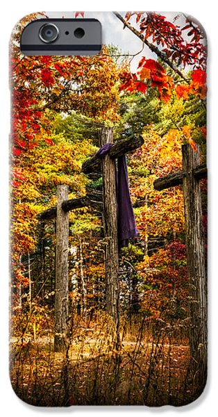 Cemetary iPhone Cases - The Old Rugged Cross iPhone Case by Debra and Dave Vanderlaan