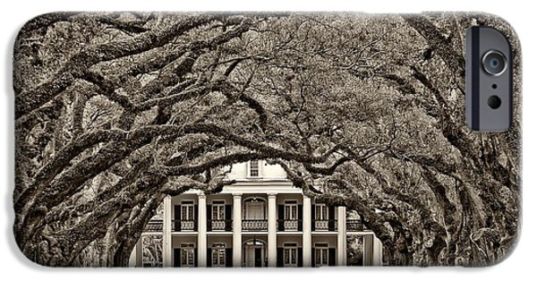 Oak Alley Plantation iPhone Cases - The Old South sepia iPhone Case by Steve Harrington