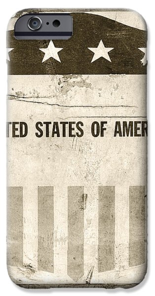 Old Glory iPhone Cases - The Old Tag BW iPhone Case by Martin Bergsma