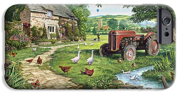 Rural iPhone Cases - The Old Tractor iPhone Case by Steve Crisp