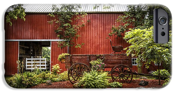 Red Roofed Barn iPhone Cases - The Old Wood Cart iPhone Case by Debra and Dave Vanderlaan