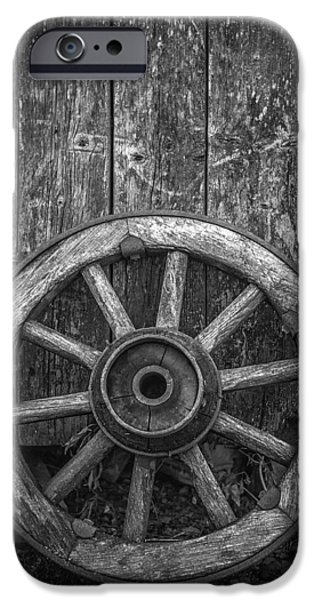 Wagon Wheels Photographs iPhone Cases - The Old Wooden Wheel iPhone Case by Erik Brede