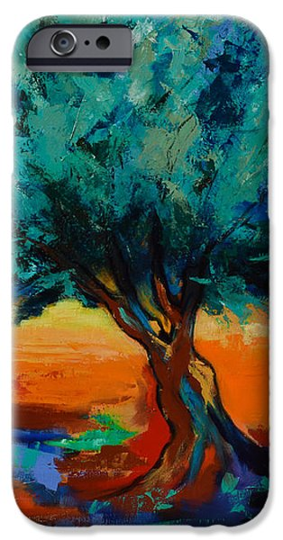 Landscape Posters iPhone Cases - The Olive Trees Dance iPhone Case by Elise Palmigiani