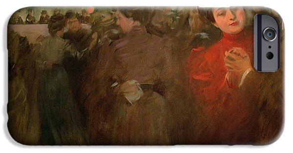 Boaters iPhone Cases - The Open Air Party iPhone Case by Ramon Casas i Carbo