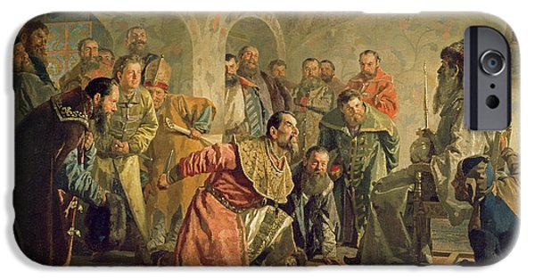 Russian iPhone Cases - The Oprichnina At The Court Of Ivan Iv 1530-84 Oil On Canvas iPhone Case by Nikolai Vasilievich Nevrev
