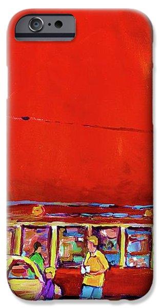 THE ORANGE JULEP MONTREAL SUMMER CITY SCENE iPhone Case by CAROLE SPANDAU