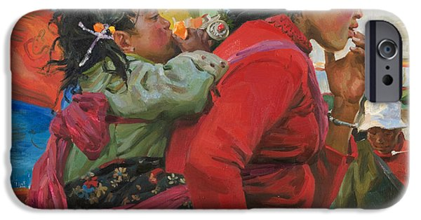 Tibet iPhone Cases - The orange iPhone Case by Victoria Kharchenko