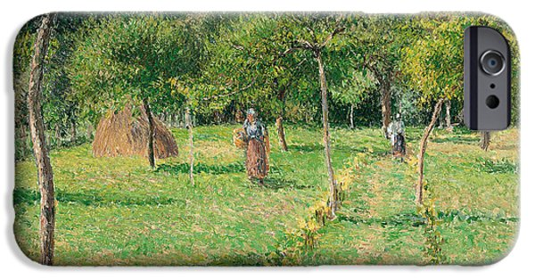 Pissarro iPhone Cases - The Orchard at Eragny iPhone Case by Camille Pissarro