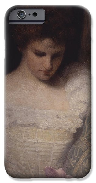 Young Paintings iPhone Cases - The Orchid iPhone Case by Julian Alden Weir
