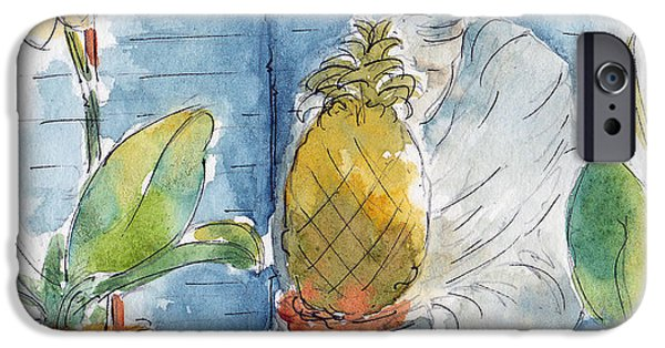 Garden Scene Paintings iPhone Cases - The Orchids And The Pineapple iPhone Case by Pat Katz
