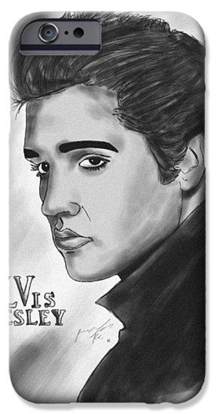 Kenal Louis iPhone Cases - The Original Rockstar Elvis Presley iPhone Case by Kenal Louis