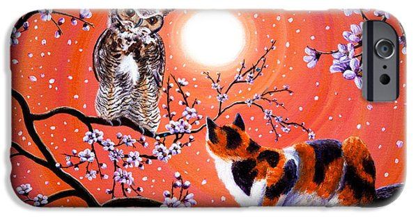 Nursery Rhyme iPhone Cases - The Owl and the Pussycat in Peach Blossoms iPhone Case by Laura Iverson
