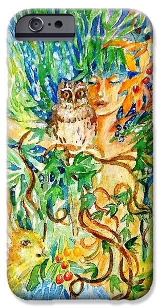 Quaker Paintings iPhone Cases - The Owl Whisperer iPhone Case by Trudi Doyle