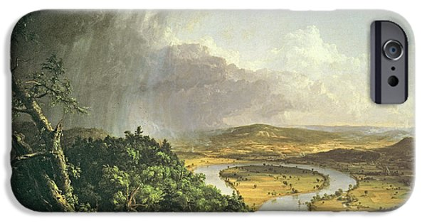 Hudson River iPhone Cases - The Oxbow The Connecticut River Near Northampton 1836 Oil On Canvas iPhone Case by Thomas Cole