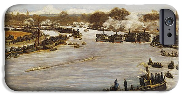 1880s iPhone Cases - The Oxford and Cambridge Boat Race iPhone Case by James Macbeth