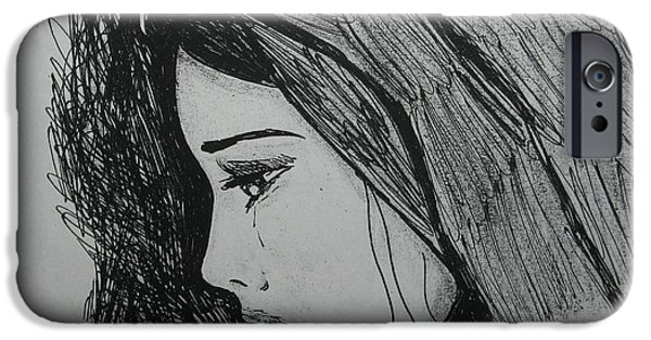Weeping Drawings iPhone Cases - The Pain Of Parting iPhone Case by Donatella Muggianu