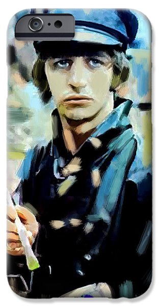 Beatles iPhone Cases - The Painted Heart  Ringo Starr iPhone Case by Iconic Images Art Gallery David Pucciarelli