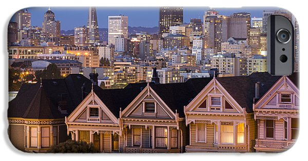 Facade iPhone Cases - The Painted Ladies and San Francisco Skyline iPhone Case by Adam Romanowicz