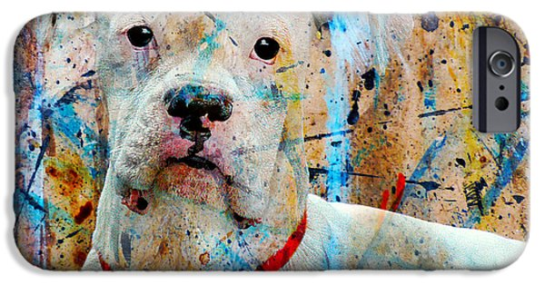 Boxer Digital Art iPhone Cases - The Painters Dog iPhone Case by Judy Wood