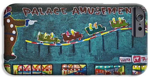 Asbury Park Paintings iPhone Cases - The Palace Clown at Night iPhone Case by Patricia Arroyo