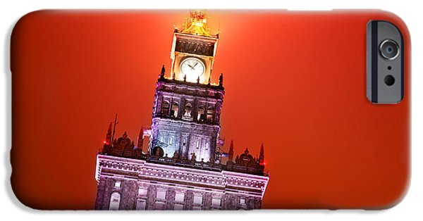 Polish Culture iPhone Cases - The Palace of Culture and Science Warsaw Poland  iPhone Case by Michal Bednarek