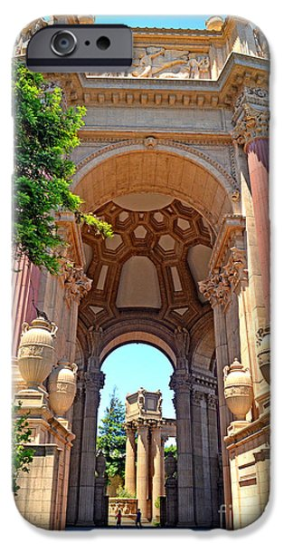 California Tourist Spots iPhone Cases - The Palace of Fine Arts in the Marina District of San Francisco II iPhone Case by Jim Fitzpatrick