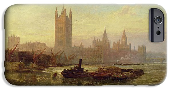 Setting Sun iPhone Cases - The Palace Of Westminster, 1892 Oil On Canvas iPhone Case by George Vicat Cole