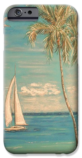 Beach Landscape Pastels iPhone Cases - The Palms iPhone Case by The Beach  Dreamer