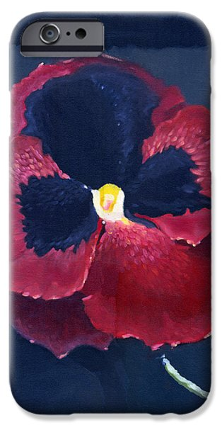 Alizarin Crimson iPhone Cases - The Pansy iPhone Case by Katherine Miller