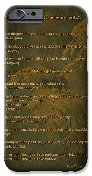 Self-improvement iPhone Cases - The Paradoxical Commandments iPhone Case by Maria Angelica Maira