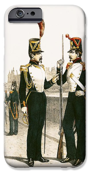 Guard iPhone Cases - The Parisian Municipale Guard, Formed 29th July 1830 Coloured Engraving iPhone Case by French School