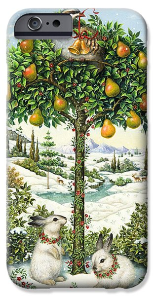 Snowy Day Paintings iPhone Cases - The Partridge in a Pear Tree iPhone Case by Lynn Bywaters