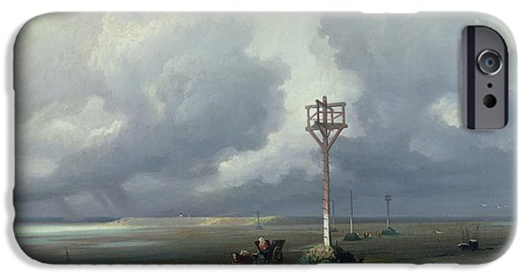 Raining iPhone Cases - The Passage Du Gois At Noirmoutier, 1859 Oil On Canvas iPhone Case by Prosper Barbot
