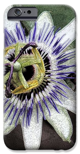 The Passion Flower in Abstract iPhone Case by Janice Rae Pariza