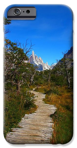 Pathway iPhone Cases - The Path to Mountains iPhone Case by FireFlux Studios