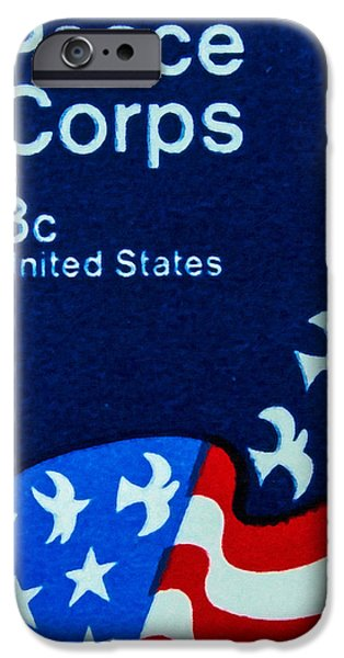 Democracy Paintings iPhone Cases - The Peace Corps stamp iPhone Case by Lanjee Chee