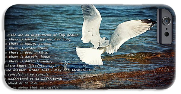Sea Birds Digital Art iPhone Cases - The Peace Prayer Of St. Francis iPhone Case by Maria Angelica Maira