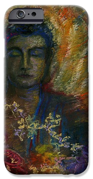 Buddhist Pastels iPhone Cases - The Peaceful Gaze iPhone Case by Wendy Le Ber
