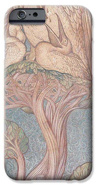 Cartoon Birds iPhone Cases - The Pelican, Cartoon For Stained Glass For The William Morris Company, 1880 Coloured Chalk On Paper iPhone Case by Sir Edward Coley Burne-Jones