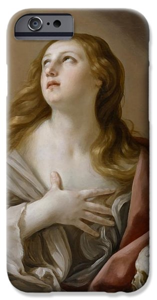 The Followers iPhone Cases - The Penitent Magdalene iPhone Case by Guido Reni