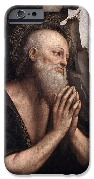 Gerome iPhone Cases - The Penitent St. Jerome Oil On Panel iPhone Case by Giovanni Pedrini Giampietrino