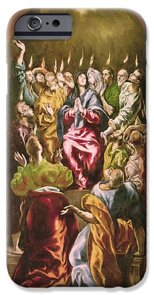 Whitsunday iPhone Cases - The Pentecost, C.1604-14 Oil On Canvas iPhone Case by El Greco