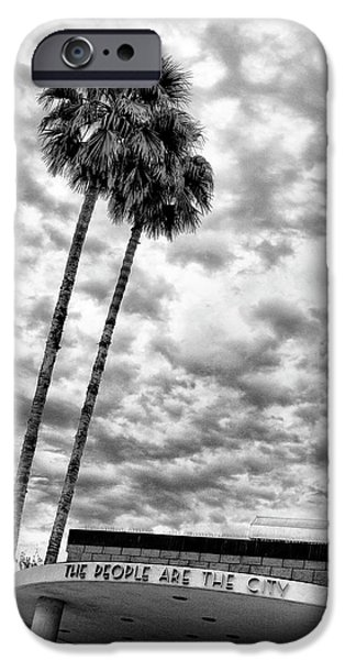 Building Feature iPhone Cases - THE PEOPLE ARE THE CITY Palm Springs City Hall iPhone Case by William Dey