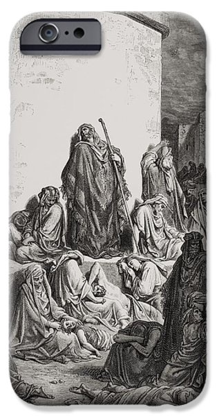 Mourning iPhone Cases - The People Mourning over the Ruins of Jerusalem iPhone Case by Gustave Dore