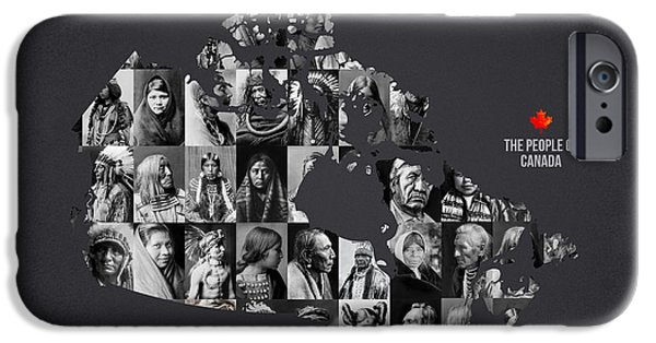 Map Of Canada iPhone Cases - The People Of Canada iPhone Case by Aged Pixel