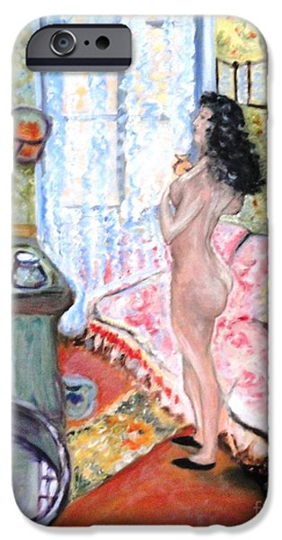 Bathing Mixed Media iPhone Cases - The Perfumed Room iPhone Case by Helena Bebirian
