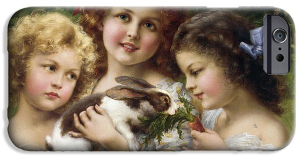Little Girl iPhone Cases - The Pet Rabbit iPhone Case by Emile Vernon