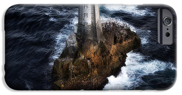 Lighthouse Pyrography iPhone Cases - The Phare Du Four To France iPhone Case by Gilles Lougassi