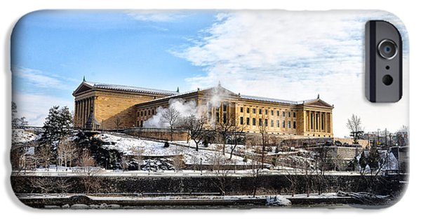 Wintertime iPhone Cases - The Philadelphia Art Museum in Wintertime iPhone Case by Bill Cannon